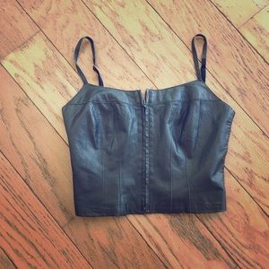 Bebe Olive Leather Corset